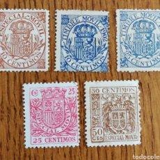 Sellos: LOTE DE 5 TIMBRES MÓVILES (LOS DE LA FOTO). Lote 194923590