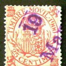 Sellos: TIMBRE MÓVIL, AÑO 1900, 25 CÉNTIMOS.. Lote 195101697