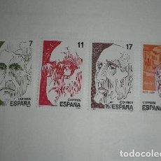 Sellos: ESPAÑA 1986 2853/6 SELLOS NUEVOS PERSONAJES FRANCISCO LOSCOS BERNAL, SALVADOR ESPRIU, AZORIN Y JUAN. Lote 195102248