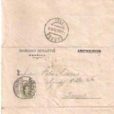 Sellos: CARTA . MARIANO SEBASTIÁ. FÁBRICA DE TEJIDOS. MORELLA ( COMUNIDAD VALENCIANA)- BURGOS AÑO 1930. Lote 195299890