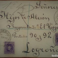 Sellos: ALFONSO XIII CADETE SAN ESTABAN DE GORMAZ SORIA CERTIFICADO 1907 ESPAÑA. Lote 195347105