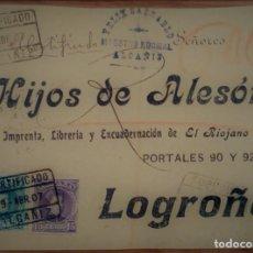 Sellos: ALFONSO XIII CADETE ALCAÑIZ TERUEL CERTIFICADO 1907. Lote 195347196