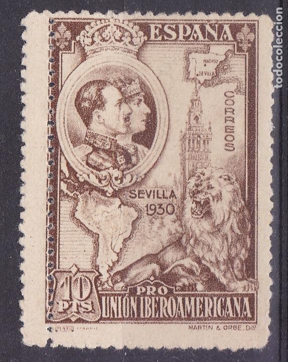 LL4-IBEROAMERICANA 10 PTAS CASTAÑO AMARILLENTO VARIEDAD DOBLE DENTADO * CON FIJASELLOS . (Sellos - España - Alfonso XIII de 1.886 a 1.931 - Nuevos)