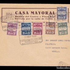 Sellos: *** CARTA CERTIFICADA 1930. SERIE COMPLETA 1/6 EXPOSICIÓN DE BARCELONA. CASA MAYORAL BARCELONA ***. Lote 195393581