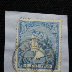 Sellos: CORREOS ESPAÑA 4 CUARTOS AZUL 1866 EDIFIL 81 USADO. Lote 195420871