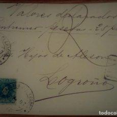 Sellos: ESPAÑA ALFONSO XIII CADETE SAN SEBASTIÁN PAÍS VASCO VALORES DECLARADOS 1907. Lote 195423181