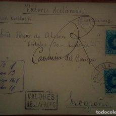 Sellos: ESPAÑA ALFONSO XIII CADETE ZUMAYA SAN SEBASTIÁN PAÍS VASCO VALORES DECLARADOS. Lote 195423655