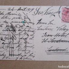 Sellos: POSTAL DE EL ESCORIAL MADRID CIRCULADA 1919 DE FRAGUAS A GRAN HOTEL SARDINERO SANTANDER. Lote 195447873