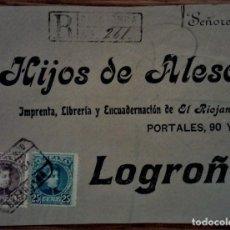 Sellos: ESPAÑA ALFONSO XIII CADETE CALAHORRA RIOJA CERTIFICADO 1902. Lote 195455873
