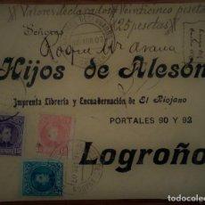 Sellos: ESPAÑA ALFONSO XIII CADETE CORELLA NAVARRA VALORES DECLARADOS 1907. Lote 195456247