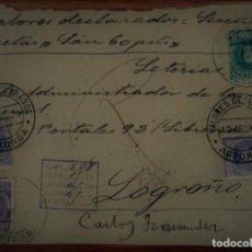 Sellos: ESPAÑA ALFONSO XIII CADETE ASTORGA LEÓN VALORES DECLARADOS 1909. Lote 195456371
