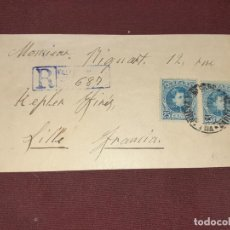 Sellos: CARTA CERTIFICADA DE VILLANUEVA Y LA GELTRÚ A FRANCIA. Lote 195515090