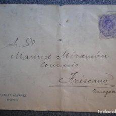 Sellos: SOBRE AMBULANTE VALENCIA A FRESCANO ZARAGOZA AÑO 1915. Lote 195529890