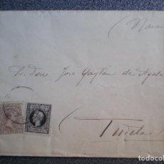 Sellos: SOBRE AÑO 1898 DOBLE EDIFIL DE RECARGO FECHADOR TUDELA NAVARRA. Lote 195530123