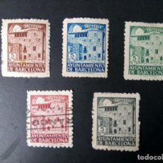 Sellos: ESPAÑA, 1943, AYUNTAMIENTO DE BARCELONA, CASA DE PADELLAS, FILABO 42/46. Lote 210071171