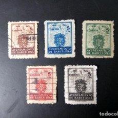 Sellos: ESPAÑA, 1944, AYUNTAMIENTO DE BARCELONA, ESCUDO, FILABO 55/59. Lote 195534021