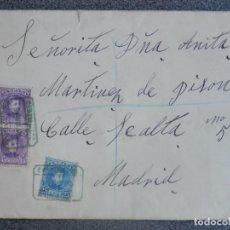 Sellos: CARTA Y DOCUMENTO AÑO 1909 CERTIFICADO ALMANSA CARTA LA TORRE ALBACETE, 2 SELLOS ED 246 Y UNO 248. Lote 197317361