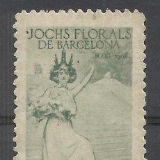 Sellos: SELLO VIÑETA JOCHS FLORALS DE BARCELONA 1908 RAMON CASAS CATALUÑA CATALUNYA NUEVO(*). Lote 197526343
