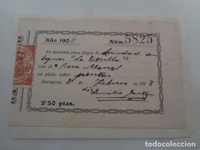 ZARAGOZA. 1907. BASTANTEO PROCURADOR. 2,50 PTAS. (Sellos - España - Alfonso XIII de 1.886 a 1.931 - Usados)