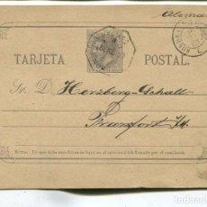 Sellos: 1883 ENTERO POSTAL IRUN A ALEMANIA. ALFONSO XIII. AMBULANTE. Lote 199088258