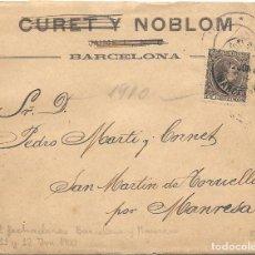 Sellos: CATALUÑA. MANRESA. EDIFIL 219. DE BARCELONA A SAN MARTIN DE TORRUELLA. 1900. Lote 199195075