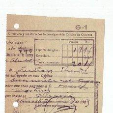 Sellos: RESGUARDO GIRO POSTAL AÑO 1923 . Lote 199510926