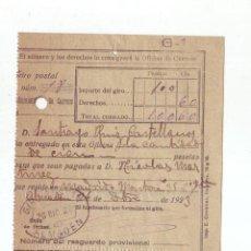 Sellos: RESGUARDO GIRO POSTAL AÑO 1923 . Lote 199511028