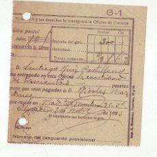 Sellos: RESGUARDO GIRO POSTAL AÑO 1923 . Lote 199511067