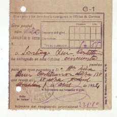 Sellos: RESGUARDO GIRO POSTAL AÑO 1924 . Lote 199511135
