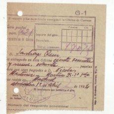 Sellos: RESGUARDO GIRO POSTAL AÑO 1924. Lote 199511192