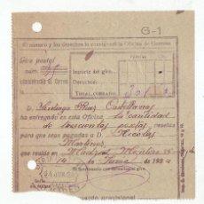 Sellos: RESGUARDO GIRO POSTAL AÑO 1924. Lote 199511220