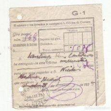 Sellos: RESGUARDO GIRO POSTAL AÑO 1925. Lote 199511311