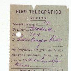 Sellos: RECIBO GIRO TELEGRÁFICO - AÑO 1914 - ALMADEN (CIUDAD REAL). Lote 199511616