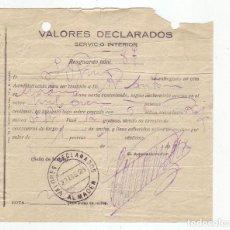 Sellos: VALORES DECLARADOS - AÑO 1923 - SOBRE CERRADO CON CINCO SELLOS Y LACRE ROJO. Lote 199519025