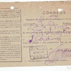Sellos: RESGUARDO DE CORRESPONDENCIA CERTIFICADA PARA INTERIOR DEL REINO - AÑO 1924 - ALMADEN. Lote 199519306