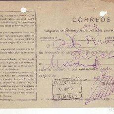 Sellos: RESGUARDO DE CORRESPONDENCIA CERTIFICADA PARA INTERIOR DEL REINO - AÑO 1924 - ALMADEN. Lote 199519326