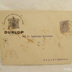 Timbres: CARTA DUNLOP PNEUMATICOS 1917 MATASELLO OVIEDO SALASNEGRO Y AZUL T80. Lote 202343333