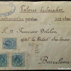 Sellos: CARTA BENAVIDES DE ORBIGO LEÓN 1918 CASTILLA ALFONSO XIII MEDALLÓN VALORES DECLARADOS AMBULANTE. Lote 202363077