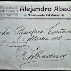 Sellos: SOBRE VILLAGORDO DEL JÚCAR ALBACETE 1905 ALFONSO XIII CARENCIA AUSENCIA SELLOS FRANQUEO AYUNTAMIENTO. Lote 202874471