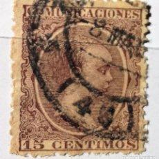 Sellos: ESPAÑA 1889-1899 15 CENTIMOS DE PESETA ALFONSO XIII TIPO PELÓN. Lote 202936116