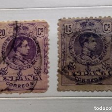 Sellos: ESPAÑA 1909 2 SELLOS ALFONSO XIII 15C Y 20C USADOS, CON Nº EN EL DORSO. Lote 202936175