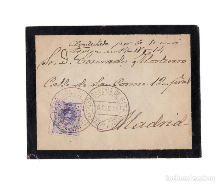 CARTERÍA, MATASELLOS. REBOLLOSA DE HITA.(GUADALAJARA).1914. (Sellos - España - Alfonso XIII de 1.886 a 1.931 - Cartas)