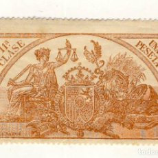 Sellos: SELLO FISCAL DE 1904- CLASE 11ª.- 1 PESETA.- CASTAÑO AMARILLO.-** (9). Lote 203981423