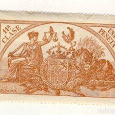 Sellos: SELLO FISCAL DE 1904- CLASE 11ª.- 1 PESETA.- CASTAÑO AMARILLO.-** (13). Lote 203984353
