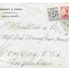 Sellos: CIRCO. POMPOFF & THEDY. EMILIO ARAGON. SOBRE DE MADRID A LONDRES. 1931.. Lote 204509111