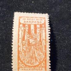Sellos: VIÑETA III APLEC DE LA SARDANA VALLVIDRIERA 1909. Lote 205592708