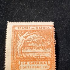 Sellos: VIÑETA TEATRE DE NATURA LA GARRIGA 1911. Lote 205593436