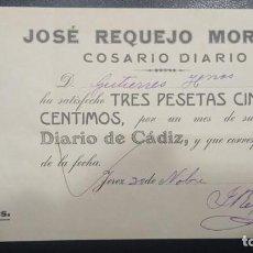 Sellos: JEREZ (CÁDIZ). JOSE REQUEJO MOREIRA. COSARIO DIARIO.. Lote 39434469