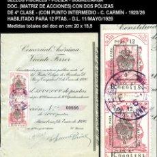 Sellos: FISCALES - DOC. 2 PÓLIZAS 4ª CLASE (10 PTAS) - HABILITADOS A 12 PTAS SOBRECARGA - 1926 - REF523-B. Lote 205867048