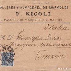 Sellos: AÑO 1889 EDIFIL 221 SOBRE DE MADRID A VENECIA MEMBRETE DE F.NICOLI. Lote 206157885
